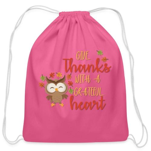 Give Thanks - Cotton Drawstring Bag
