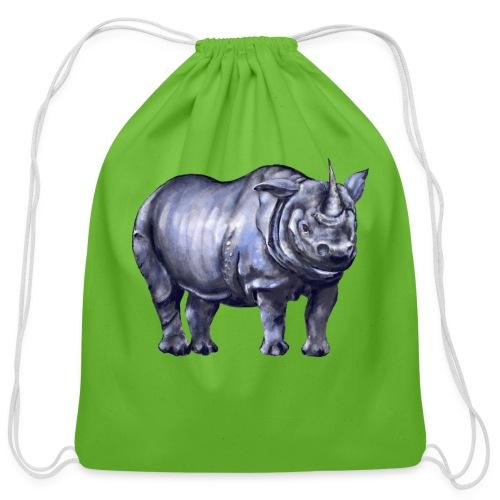 One horned rhino - Cotton Drawstring Bag
