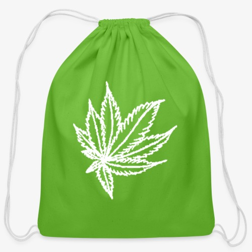 white leaf - Cotton Drawstring Bag