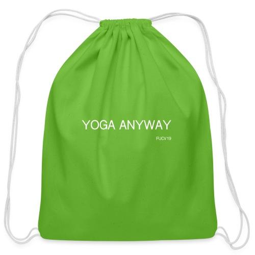YOGA WHITE font - Cotton Drawstring Bag