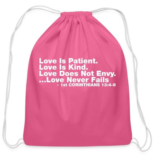 Love Bible Verse - Cotton Drawstring Bag