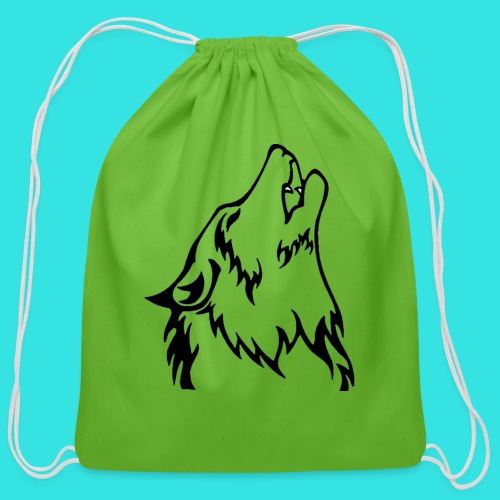 Wolf (back) - Cotton Drawstring Bag