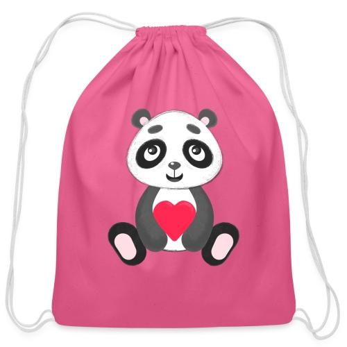 Sweetheart Panda - Cotton Drawstring Bag