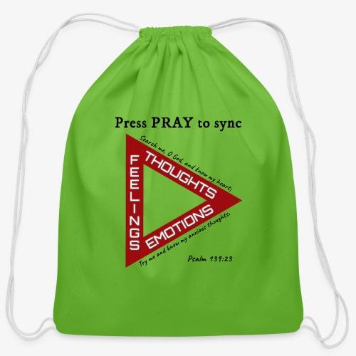 Press PRAY to Sync - Cotton Drawstring Bag