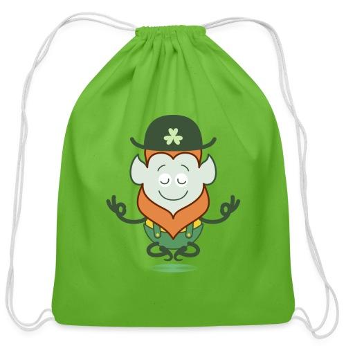St Patrick's Day Leprechaun meditating - Cotton Drawstring Bag