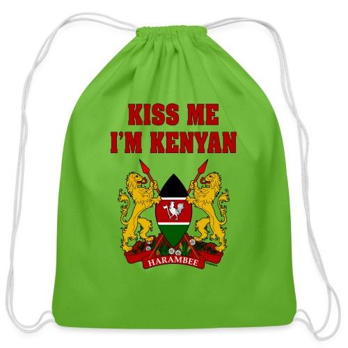 Kiss Me, I'm Kenyan - Cotton Drawstring Bag