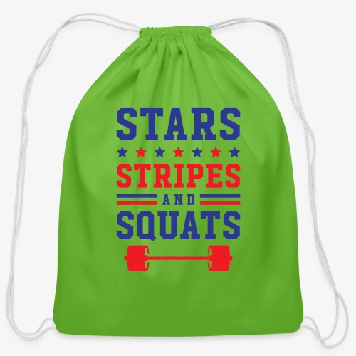 Stars, Stripes And Squats - Cotton Drawstring Bag