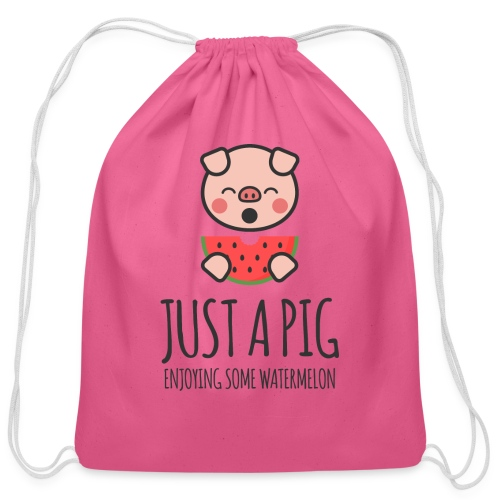 Just A Pig Enjoying Some Watermelon - Cotton Drawstring Bag