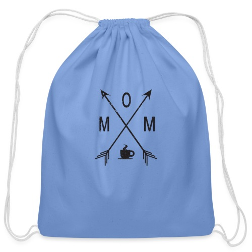 Mom Loves Coffee (black ink) - Cotton Drawstring Bag