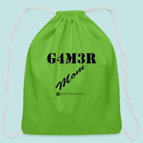 Gamer Mom (black) - Cotton Drawstring Bag