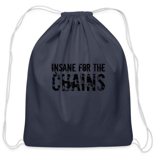 Insane For the Chains Disc Golf Black Print - Cotton Drawstring Bag
