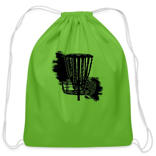 Disc Golf Basket Paint Black Print - Cotton Drawstring Bag