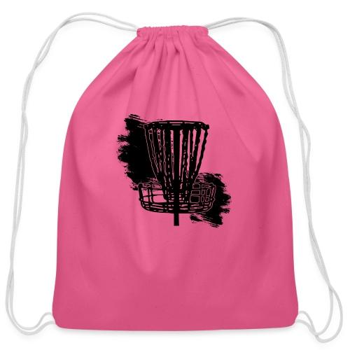 Disc Golf Basket Paint Black Print - Cotton Drawstring Bag