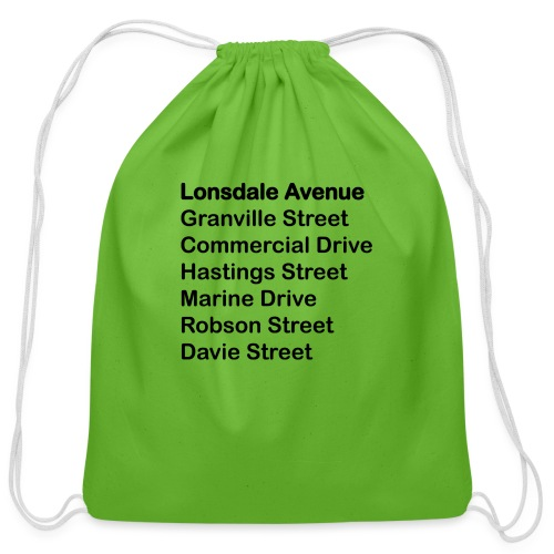 Street Names Black Text - Cotton Drawstring Bag
