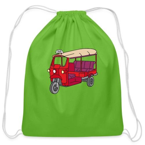 Red Tuktuk or autorickshaw - Cotton Drawstring Bag