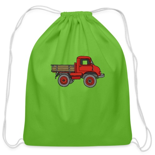 Red off-road truck - Cotton Drawstring Bag