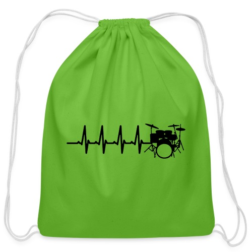 Drums Heartbeat Funny drummer - Cotton Drawstring Bag