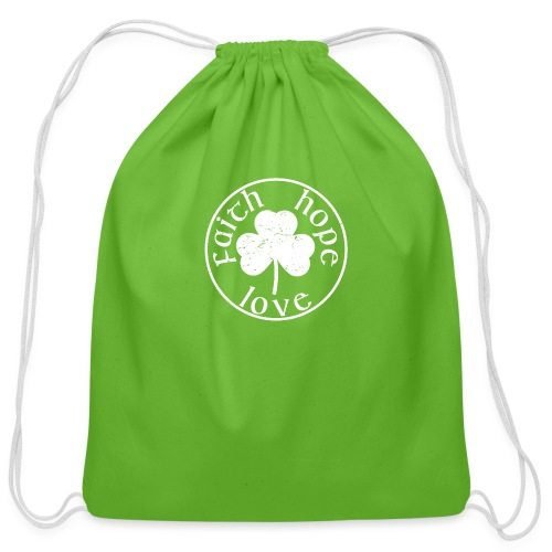 Irish Shamrock Faith Hope Love - Cotton Drawstring Bag
