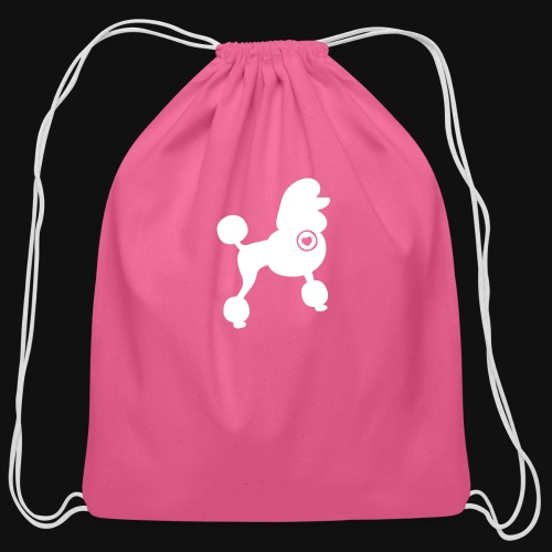 Poodle love - Cotton Drawstring Bag