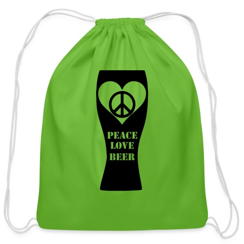 Peace Love Beer (Black) (Vector) - Cotton Drawstring Bag