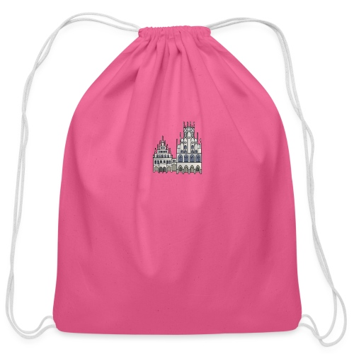 Town Hall Münster, Cityhall, Mayor - Cotton Drawstring Bag