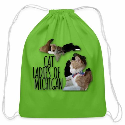 Cat Ladies of Michigan - Cotton Drawstring Bag