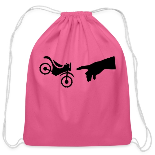 The hand of god brakes a motorcycle as an allegory - Cotton Drawstring Bag