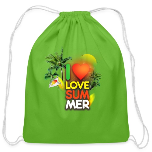 I love summer - Cotton Drawstring Bag
