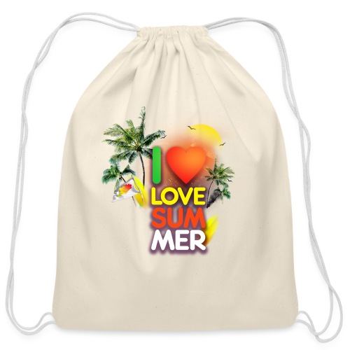 I love summer - Cotton Drawstring Bag