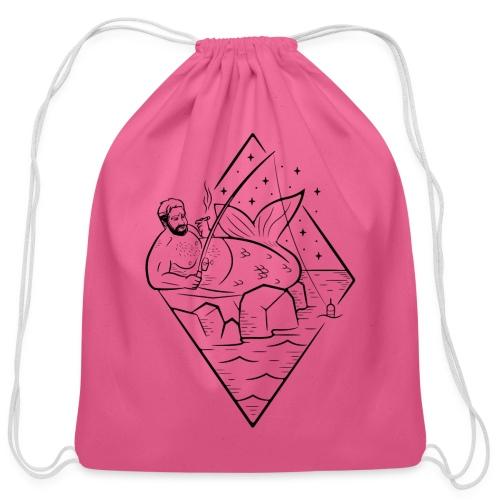Misguided Merman Smoking and Fishing Design - Cotton Drawstring Bag