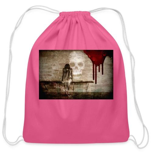sad girl - Cotton Drawstring Bag