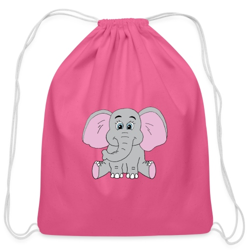 Cute Baby Elephant - Cotton Drawstring Bag