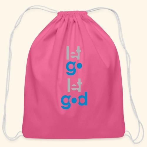 LET GO LET GOD GREY/BLUE #7 - Cotton Drawstring Bag