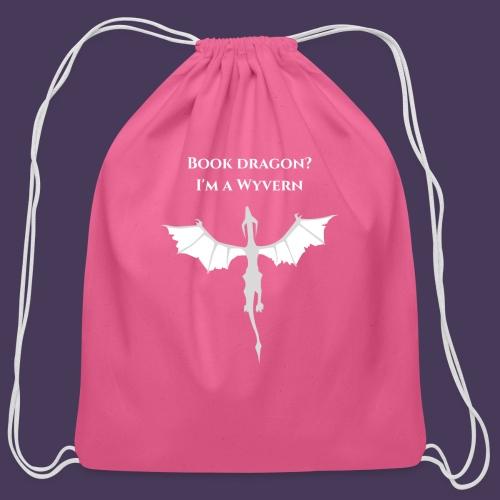 Book dragon? I'm a Wyvern (white) - Cotton Drawstring Bag
