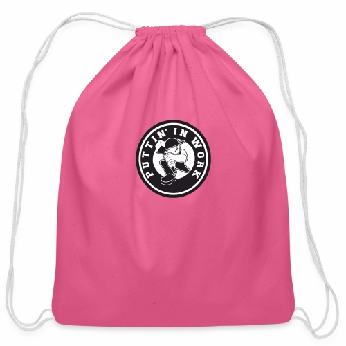Solid Puttin' In Work Logo - Cotton Drawstring Bag