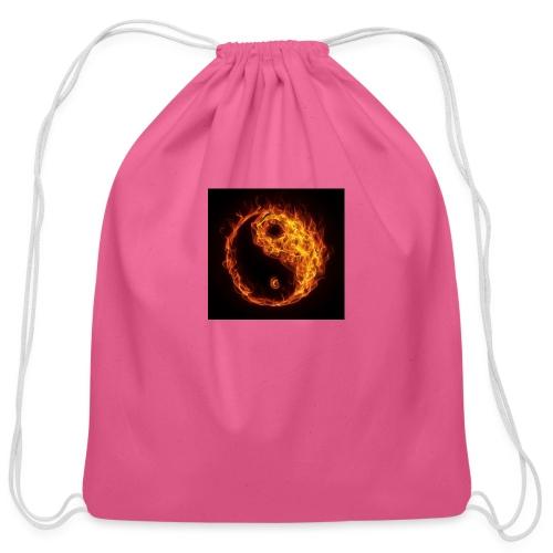 Panda fire circle - Cotton Drawstring Bag
