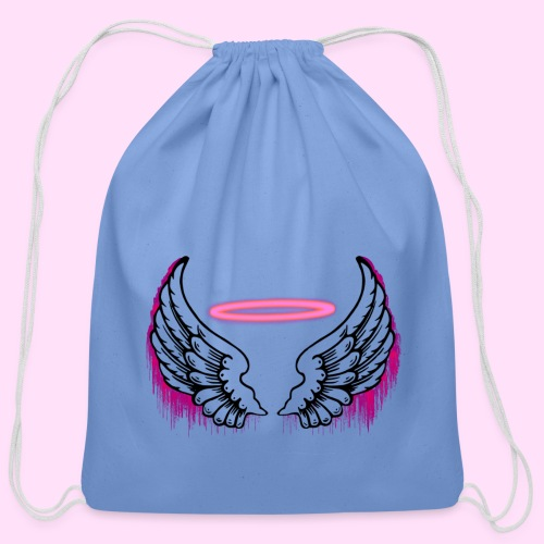 angel wings logo - Cotton Drawstring Bag