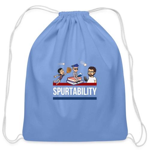 Spurtability White Text - Cotton Drawstring Bag