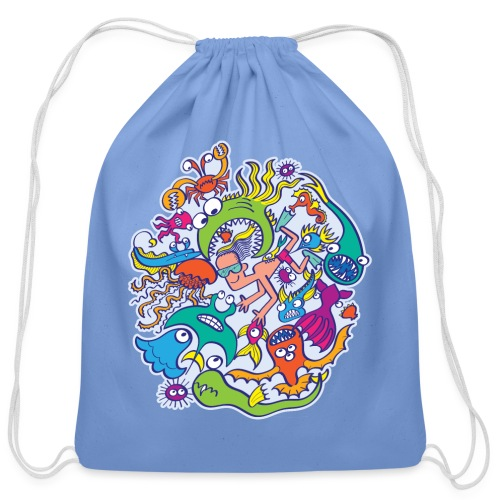 Summer swimming with weird dangerous sea creatures - Cotton Drawstring Bag