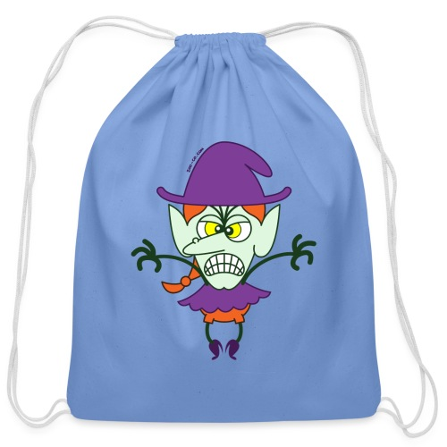 Scary Halloween Witch - Cotton Drawstring Bag