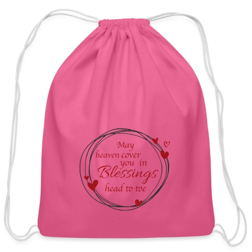 Blessings head to toe hearts - Cotton Drawstring Bag