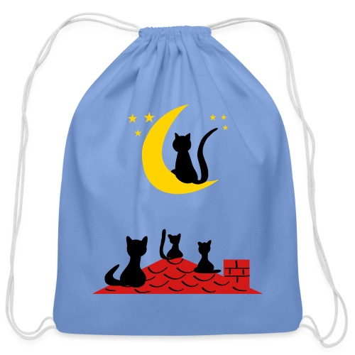 Cats on the roof - Cotton Drawstring Bag