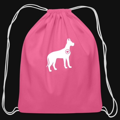 Great Dane love - Cotton Drawstring Bag