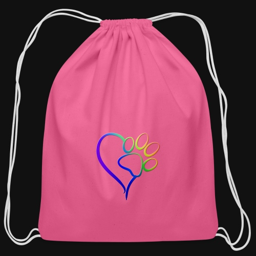 Paw Print on my Heart Rainbow Bridge - Cotton Drawstring Bag