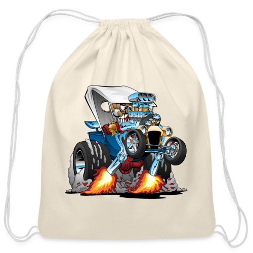Custom T-bucket Roadster Hotrod Cartoon - Cotton Drawstring Bag