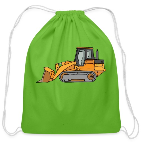Bulldozer (orange) - Cotton Drawstring Bag