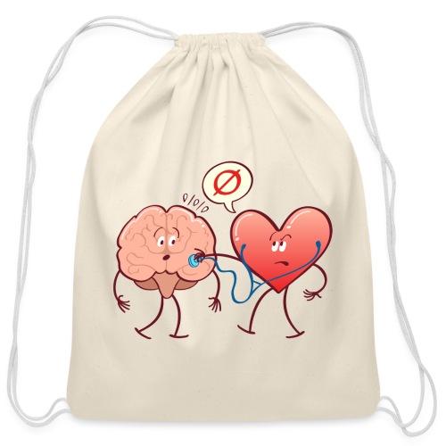 Heart examinating Brain with Stethoscope - Cotton Drawstring Bag
