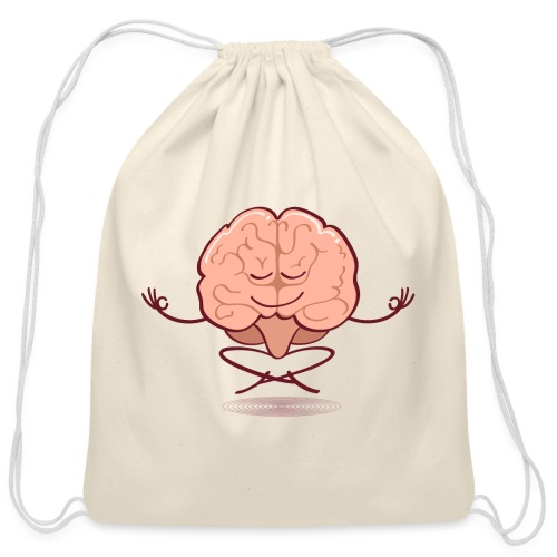 Cartoon brain meditating in lotus pose - Cotton Drawstring Bag
