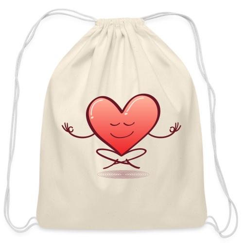 Cartoon heart smiling and meditating in lotus pose - Cotton Drawstring Bag