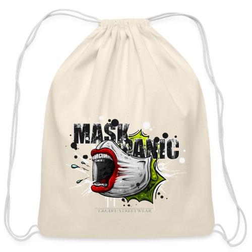 mask panic - Cotton Drawstring Bag